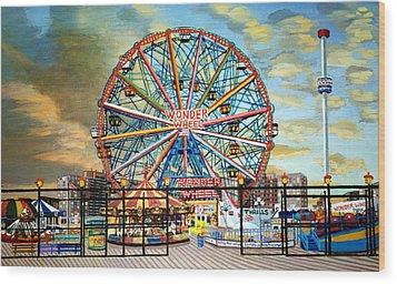 The Wonder Wheel  Wood Print by Bonnie Siracusa