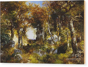 The Woodland Pool Wood Print by Thomas Moran