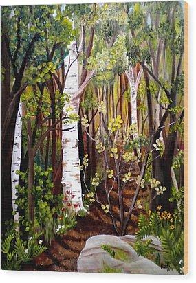 The Woodland Trail Wood Print by Renate Nadi Wesley