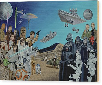 The World Of Star Wars Wood Print by Tony Banos