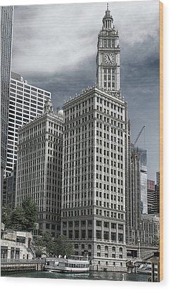 Wood Print featuring the photograph The Wrigley Building by Alan Toepfer