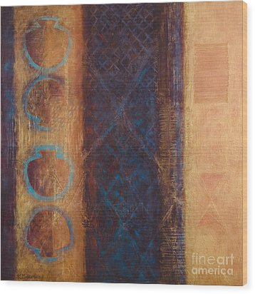 Wood Print featuring the painting The X Factor Alchemy Of Consciousness by Kerryn Madsen-Pietsch