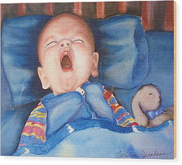 The Yawn Wood Print by Marilyn Jacobson