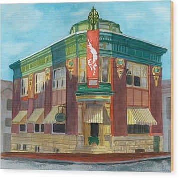 The Yellow Brick Bank Restaurant Wood Print by Lynne Reichhart
