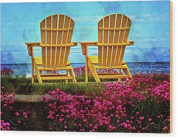 The Yellow Chairs By The Sea Wood Print