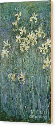The Yellow Irises Wood Print by Claude Monet