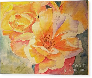 The Yellow Rose Wood Print by Carol Grimes