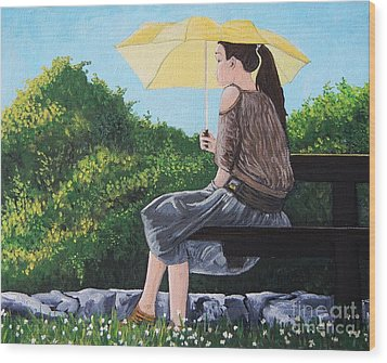 The Yellow Umbrella Wood Print by Reb Frost