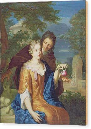 The Young Lovers Wood Print by Gerard Hoet