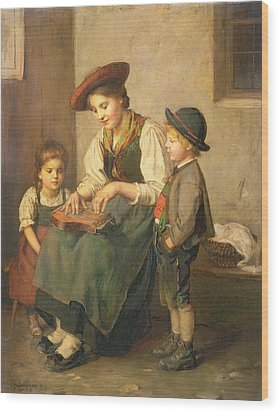 The Zither Player Wood Print by Franz von Defregger