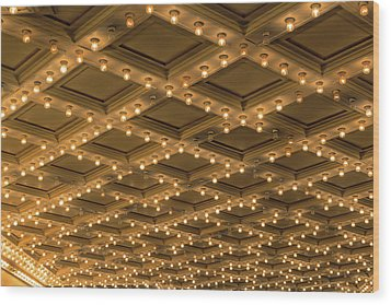 Theater Ceiling Marquee Lights Wood Print by David Gn