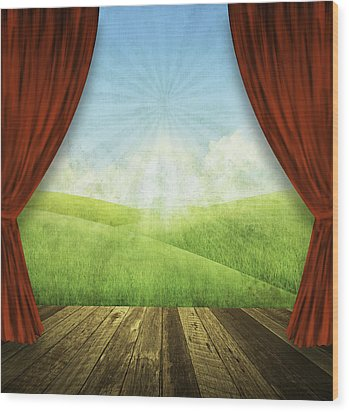 Theater Stage With Red Curtains And Nature Background  Wood Print by Setsiri Silapasuwanchai