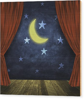 Theater Stage With Red Curtains And Night Background  Wood Print by Setsiri Silapasuwanchai