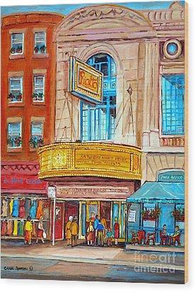 Theatre Rialto Ave. Du Parc Montreal Wood Print by Carole Spandau
