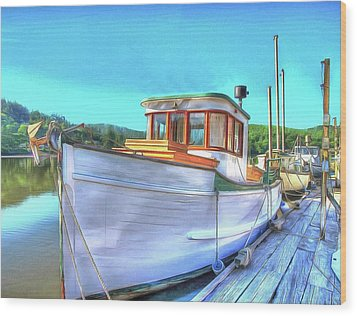 Thee Old Dragger Boat Wood Print