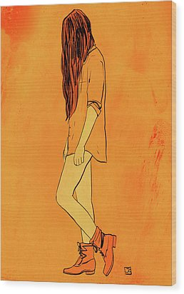 Wood Print featuring the drawing Theese Boots... by Giuseppe Cristiano