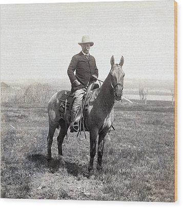 Theodore Roosevelt Horseback - C 1903 Wood Print by International  Images