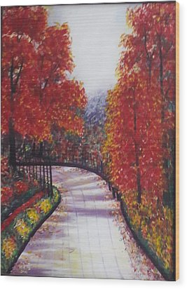 There Is Always A Bright Road Ahead Wood Print by Usha Rai