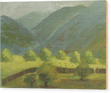 Wood Print featuring the painting There Is Mist Up Here by Trilby Cole