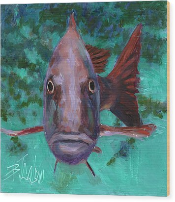 Wood Print featuring the painting There's Something Fishy Going On Here by Billie Colson