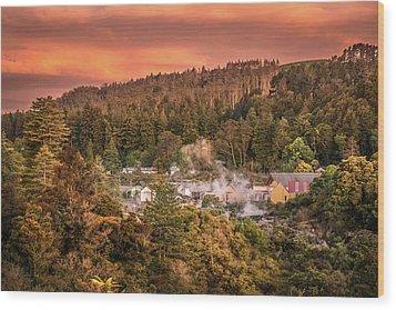 Thermal Village Rotorua Wood Print