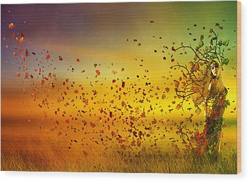 They Call Me Fall Wood Print by Mary Hood