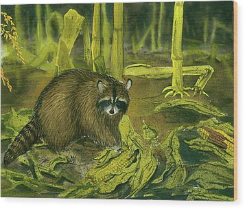Thief In The Night Wood Print by Bud Bullivant