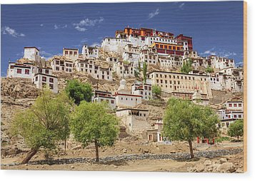 Wood Print featuring the photograph Thikse Monastery by Alexey Stiop