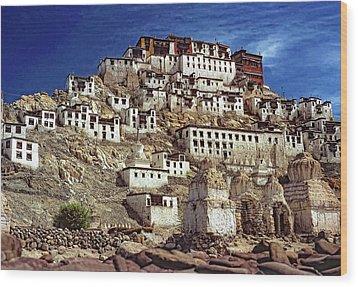 Thiksey Monastery Wood Print by Steve Harrington