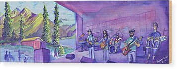 Wood Print featuring the painting Thin Air At Dillon Amphitheater by David Sockrider