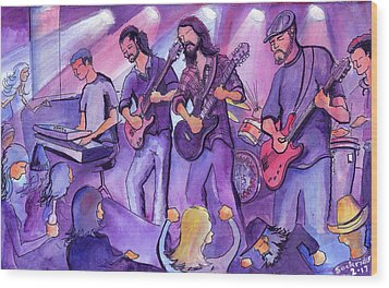 Wood Print featuring the painting Thin Air At The Barkley Ballroom In Frisco, Colorado by David Sockrider