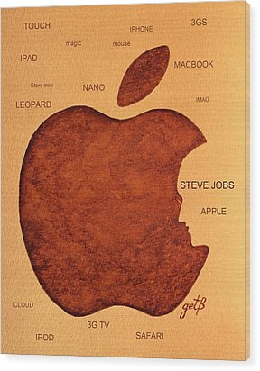 Think Different Steve Jobs 2 Wood Print by Georgeta  Blanaru