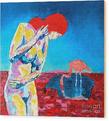 Thinking Woman Wood Print by Ana Maria Edulescu