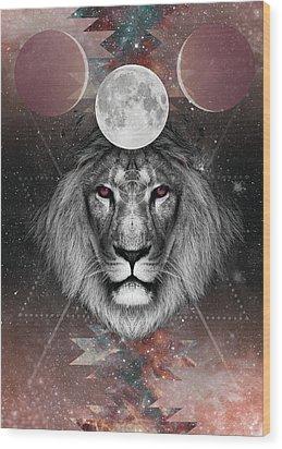 Third Eye Lion Vision Wood Print by Lori Menna