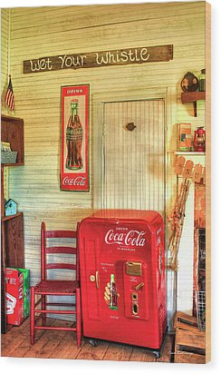 Thirst-quencher Old Coke Machine Wood Print by Reid Callaway