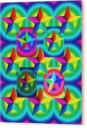 Thirteen Stars With Ring Gradients Wood Print by Eric Edelman