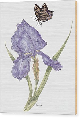 Wood Print featuring the painting This Great Purple Butterfly by Stanza Widen