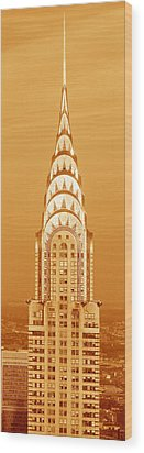 Chrysler Building At Sunset Wood Print by Panoramic Images