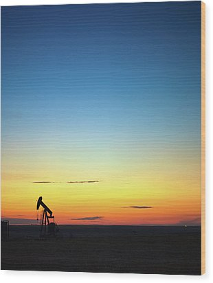 This Is Alberta No.14b - Prairie Oil Sunset Wood Print by Paul W Sharpe Aka Wizard of Wonders