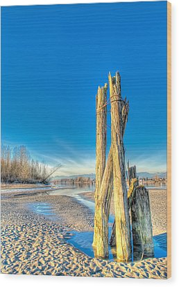 This Is British Columbia No.43 - Frost On The Fraser Wood Print by Paul W Sharpe Aka Wizard of Wonders