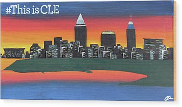This Is Cle Wood Print by Cyrionna The Cyerial Artist