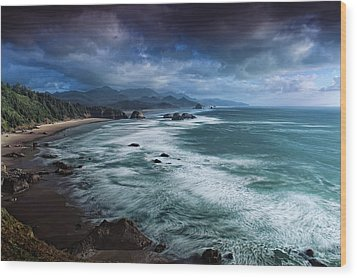 This Is Oregon State No.16 - Cannon Beach Waves Wood Print by Paul W Sharpe Aka Wizard of Wonders