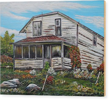 Wood Print featuring the painting This Old House 2 by Marilyn  McNish