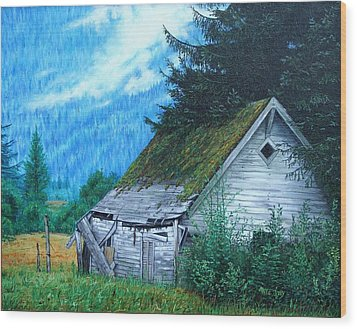 Wood Print featuring the painting This Old House by Mike Ivey