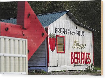 This Way For Strawberries Wood Print by David Lee Thompson