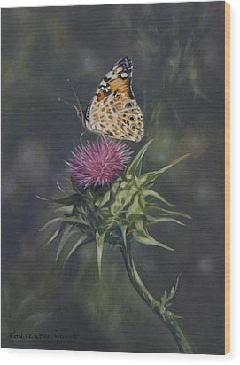 Thistle Dew Wood Print by Kathleen  Hill