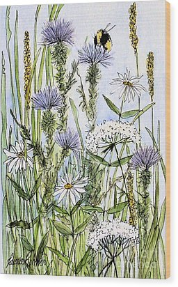 Wood Print featuring the painting  Thistles Daisies And Wildflowers by Laurie Rohner