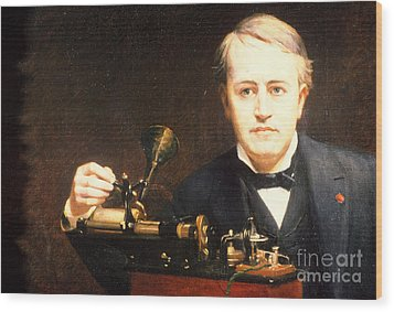 Thomas Edison, American Inventor Wood Print by Photo Researchers