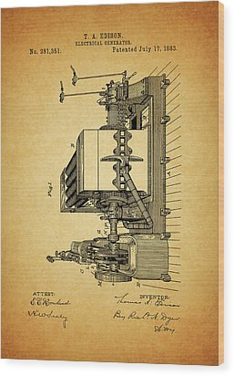 Thomas Edison Generator Patent Wood Print by Dan Sproul