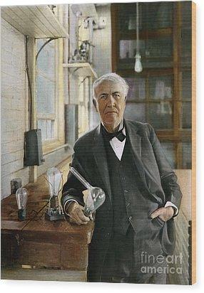 Thomas Edison Wood Print by Granger